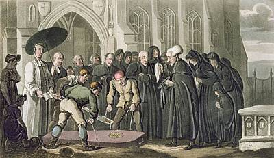Dr Syntax At The Funeral Of His Wife Poster by Thomas Rowlandson