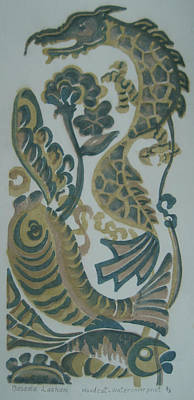 Dragon And Fish Poster by Ousama Lazkani