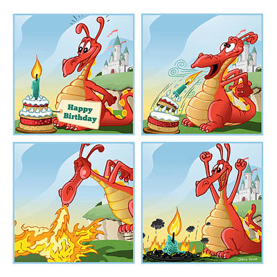 Dragon Blows Out Birthday Cake Poster by David Spier
