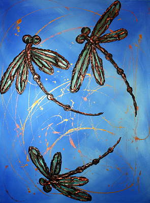 Dragonfly Flit - Blues Poster by Lyndsey Hatchwell
