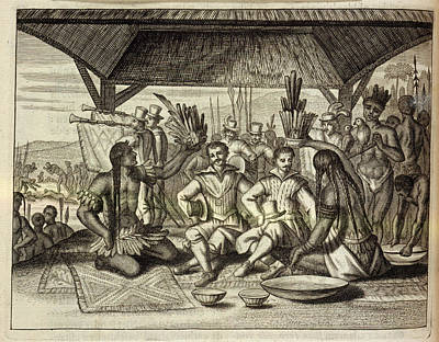 Drake Crowned By Indians Poster by British Library