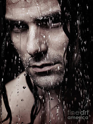 Dramatic Portrait Of Young Man Wet Face With Long Hair Poster by Oleksiy Maksymenko