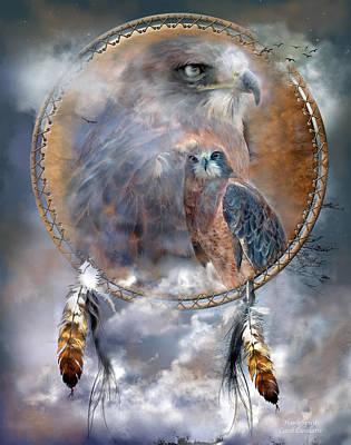 Dream Catcher - Hawk Spirit Poster by Carol Cavalaris