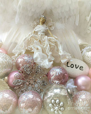 Dreamy Angel Christmas Holiday Shabby Chic Love Print - Holiday Angel Art Romantic Holiday Ornaments Poster by Kathy Fornal