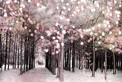 Dreamy Cottage Shabby Chic Pastel Nature Photography - Fairytale Fantasy Woodlands Pink Forest Poster by Kathy Fornal