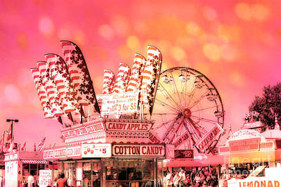 Surreal Hot Pink Orange Carnival Festival Cotton Candy Stand Candy Apples Ferris Wheel Art Poster by Kathy Fornal