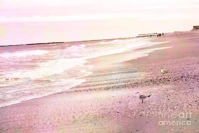 Dreamy Pink Beach Ocean Coastal Wrightsville Beach North Carolina Beach Ocean Art Poster by Kathy Fornal