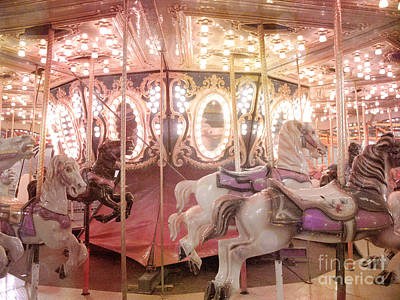 Dreamy Pink Carnival Carousel Merry Go Round Horses Festival Carousel Horses Sparkling Lights Poster by Kathy Fornal