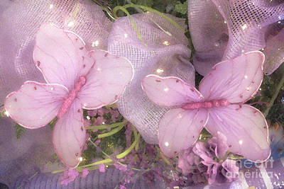 Dreamy Romantic Cottage Chic Shabby Chic Butterflies Purple Lilac  Poster by Kathy Fornal