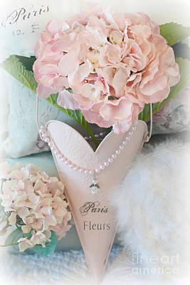 Paris Pink Hydrangeas Heart - Romantic Cottage Chic Paris Pink Hydrangea Floral Art Poster by Kathy Fornal