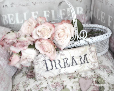 Dreamy Shabby Chic Romantic Cottage Chic Roses In White Basket  Poster by Kathy Fornal
