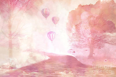 Dreamy Surreal Fantasy Fairytale Pastel Hot Air Balloons Dreamland Nature Fantasy Art Poster by Kathy Fornal