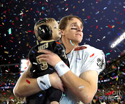 Drew Brees Poster by Paul Tagliamonte