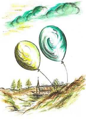 Drifting Balloons Poster by Teresa White