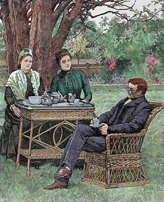 Drinking Coffee In The Garden Poster by Prisma Archivo