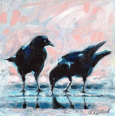 Drinking Crows Poster by Christine Karron