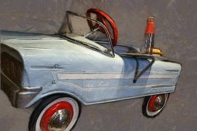 Drive In Pedal Car Poster by Michelle Calkins