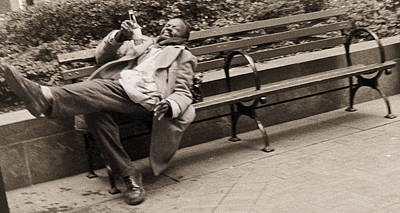 Drunk Man On A Park Bench, 2004 Bw Photo Poster by Stephen Spiller