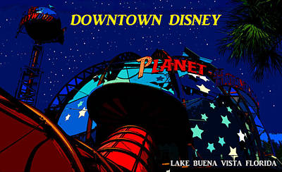 Planet Hollywood Night Poster by David Lee Thompson