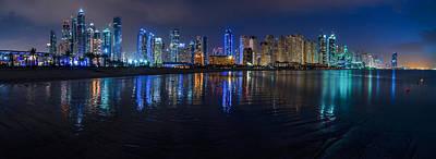 Dubai - Marina Skyline At Night Poster by Jean Claude Castor