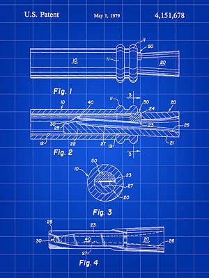 Duck Call Patent 1979 - Blue Poster by Stephen Younts