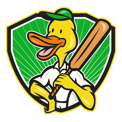 Duck Cricket Player Batsman Cartoon Poster by Aloysius Patrimonio