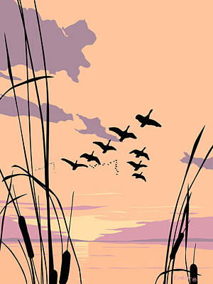 Abstract Ducks Sunset 1980s Acrylic Ducks Sunset Large 1980s Pop Art Nouveau Painting Retro      Poster by Walt Curlee