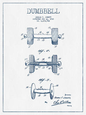 Dumbbell Patent Drawing From 1927  -  Blue Ink Poster by Aged Pixel