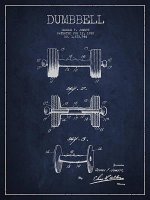 Dumbbell Patent Drawing From 1927 Poster by Aged Pixel