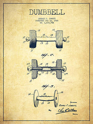 Dumbbell Patent Drawing From 1927 - Vintage Poster by Aged Pixel