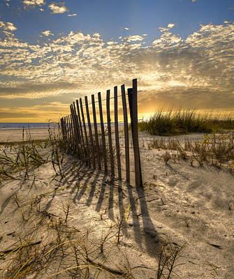 Dune Fence At Sunrise Poster by Debra and Dave Vanderlaan