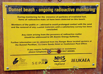 Dunnet Beach Radiation Monitoring Poster by Public Health England