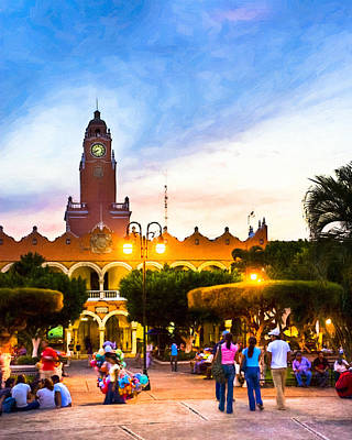 Dusk On The Zocalo In Merida Poster by Mark E Tisdale