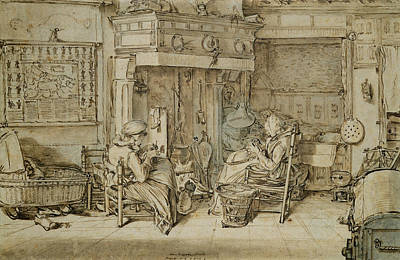 Dutch Interior, 1617 Pen, Ink And Brush On Paper Poster by Willem Pietersz Buytewech