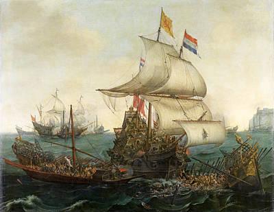 Dutch Ships Ramming Spanish Galleys Off The English Coast Poster by Hendrik Cornelisz Vroom