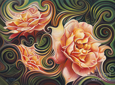 Dynamic Floral V  Roses Poster by Ricardo Chavez-Mendez