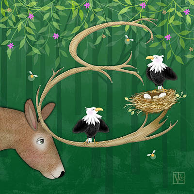 E Is For Elk And Eagles Poster by Valerie Drake Lesiak