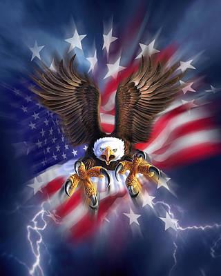 Eagle Burst Poster by Jerry LoFaro