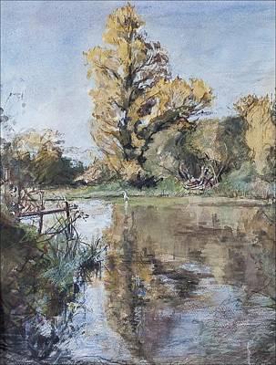 Early Autumn On The River Test Poster by Caroline Hervey-Bathurst