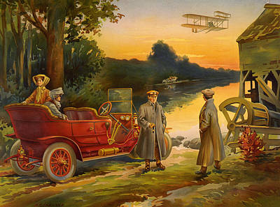 Early Motoring Print Poster by Big 88 Artworks