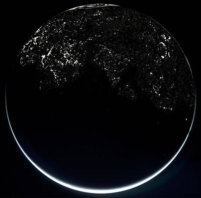 Earth From Space At Night Poster by Esa 2005 Mps For Osiris Team Mps/upd/lam/iaa/rssd/inta/ Upm/dasp/ida