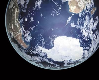 Earth In Space Poster by Mikkel Juul Jensen