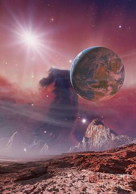 Earthlike Planet In Orion Nebula Poster by Detlev van Ravenswaay