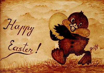 Easter Golden Egg Coffee Painting Poster by Georgeta  Blanaru