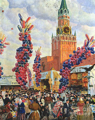 Easter Market At The Moscow Kremlin Poster by Boris Mikhailovich Kustodiev