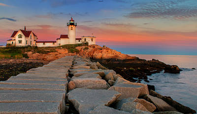 Eastern Point Lighthouse At Sunset Poster by Thomas Schoeller