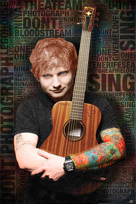 Ed Sheeran And Song Titles Poster by Tony Rubino