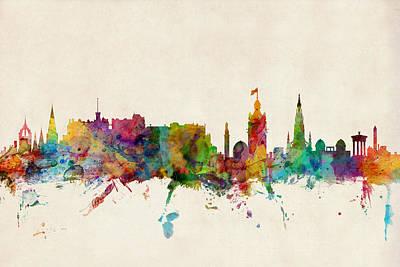 Edinburgh Scotland Skyline Poster by Michael Tompsett