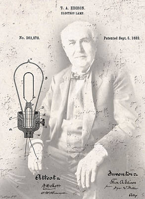 Edison And Electric Lamp Patent Poster by Daniel Hagerman