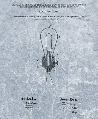 Edison Electric Lamp Patent Orginal File Poster by Dan Sproul